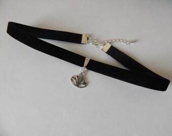 Black Velvet Lotus Flower Choker, Plain Black Velvet Choker, Simple Velvet Choker, Black Lotus Charm Choker Necklace. Lotus Flower Choker