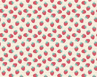 """Half Yard of Penny Rose Fabrics """"The Shabby Strawberry"""" by Emily Hayes. 100% cotton, pattern C6044 Cream - Berry."""