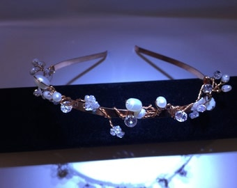 Vintage style rose gold tiara headband, headdress ,tiara with freshwater pearls and crystals