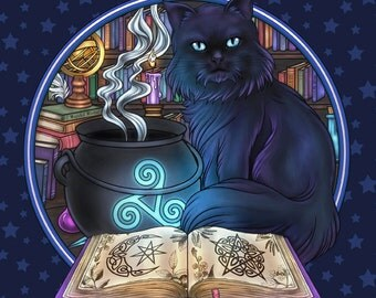 Familiar Magick Black Cat -  Pagan Wiccan Print - Brigid Ashwood