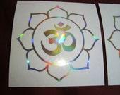 "Lotus Om x 2 Sticker. Rainbow Silver Vinyl Fx 3.5"" size"
