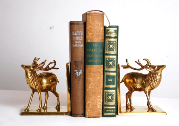 Brass stag bookends vintage deer bookend woodland by envyalley - Stag book ends ...