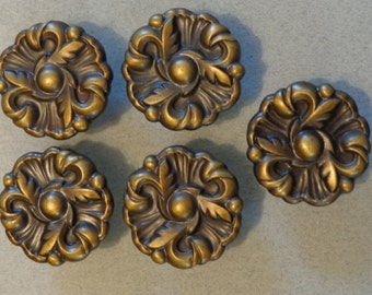 Vintage Cabinet Knobs Dresser Drawer Flower shape Set of 5 with screws 593 Antique Brass finish
