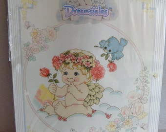 Vintage Dreamsicles Counted Cross Stitch Kit Leisure Arts 48006 NOS Cloud of Flowers with Blue Bird New Old Stock