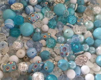 SALE. Baby Blue and White Bead Soup Mix #1
