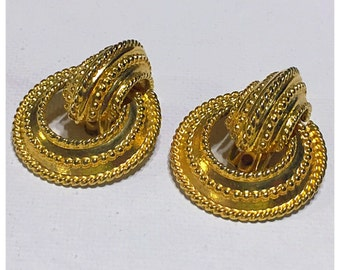 Chunky Bright Gold Tone Clip on Earrings, Statement Earrings, Big Gold Vintage Earrings