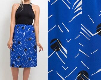 Vintage 80s skirt- High waist BLUE patterned knee length 1980s POCKETS circle skirt eighties high waisted  pattern skirt