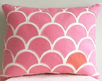 Pink and Peach Wave Pillow, Wool Felt Applique on Cotton Canvas, Lumbar Pillow, Pink, Peach & Cream Decorative Throw Pillow