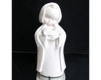 Vintage porcelain figurine, choir girl, choir child, angel face sculpture, child figurine, Josette Boland Téco Belgium Bois-de-Breux singing