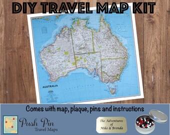 "DIY Classic Australia Push Pin Travel Map Kit with 100 Pins - 30.25"" x 27"" - Fun gift idea!"
