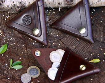 Hand-made Brown Leather Double-sided Triangular Coin Purse / Wallet