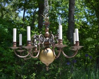 Antique Burnished Brass and Wood 8 Light Chandelier