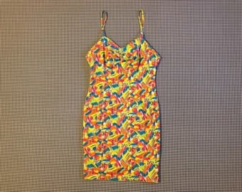1980's, jersey knit, spaghetti strap, mini-dress, in neon, fruit print, Women's size Medium