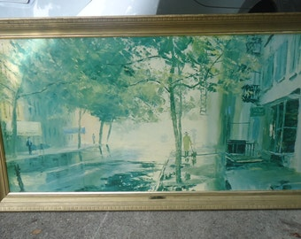 "Mid Century New York Streetscape Lithograph Print by Peter Hayward 53"" x 29"""