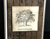 Handstamped Father's Day Greeting Card, Dad, Brother, Grandfather, Son, Uncle, Rustic, Tree, Handmade Father's Day Card
