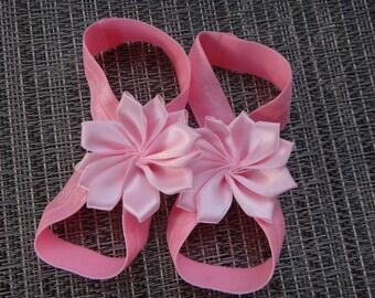 barefoot sandals, pink barefoot sandals, newborn barefoot sandals, baby girl barefoot sandals,  glitter elastic, more elastic options!