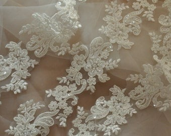 Beaded Alencon Lace Trim , Bridal Veil Lace, Scallop Wedding Gown Lace Trim , Bridal Dress Straps