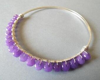 Jade Bracelet, Wire Wrapped Bangle, Bangle Bracelet, Purple Bracelet, Unique Bracelet, Gift for Wife, Jade Jewelry, Purple Jade Bangle