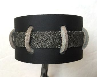 Men's genuine leather black bracelet cuff wristband with gray suede.