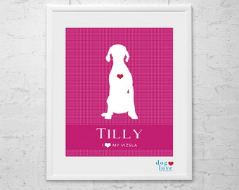 Vizsla Dog Silhouette - Personalized 8x10 Dog Art Print
