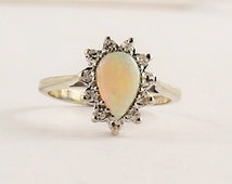 Pear Shaped Opal & Diamond Halo Ring - 14 karat white gold
