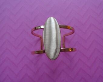Rose gold oval cage cuff bracelet