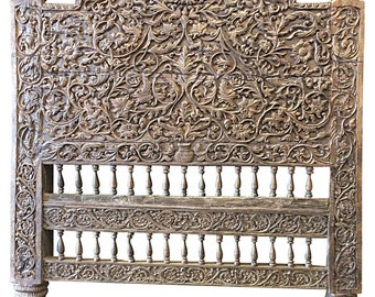 Antique Headboard Floral Hand Carved Teak Bed Frame India Furniture  Spanish Moroccan Mediterranean Boho Shabby Chic Interiors