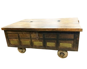 Country Style Coffee Table- Antique Chest on Wheels Hope Chest Coffee Table India Brass Cladded
