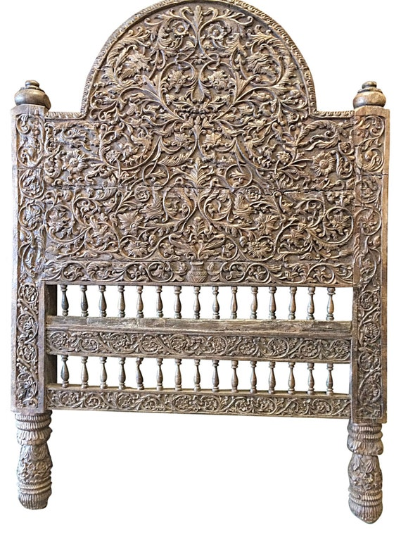 Antique Headboard Floral Hand Carved Teak Bed Frame India