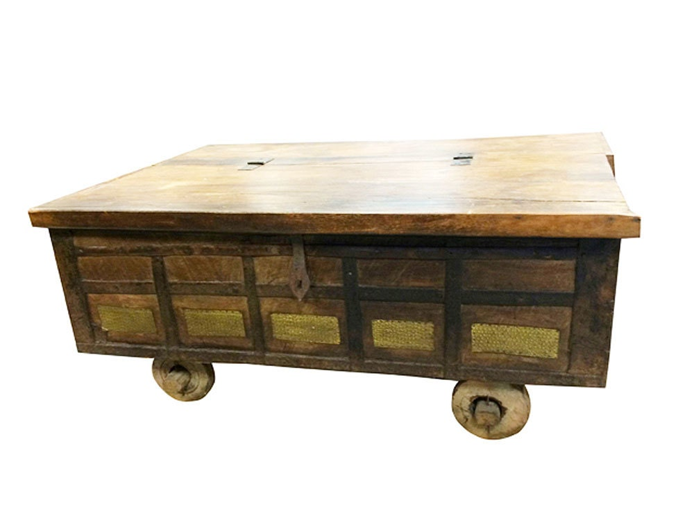 Country Style Coffee Table Antique Chest On Wheels Hope Chest
