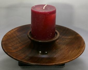 Hand turned walnut candle holder