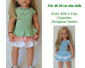 "PDF Knitting pattern  ANGELINA DRESS Fits 46-50 cm (18-19"") slim dolls  (Gotz, Kids'n'Cats, Carpatina,  Zwergnase Junior)"
