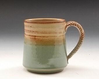 Handmade Pottery Mug Green and Brown  Stoneware by Mark Hudak