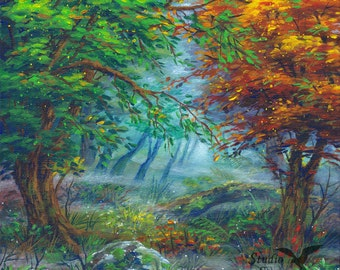 Original acrylic painting canvas forest fog 30 x 29,5cm tree trees nature autumn green orange red leaves grass fantasy dreamy atmosphere