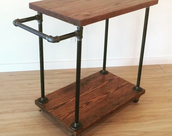 Cast-Iron Pipe & Reclaimed Fir Bar-Cart