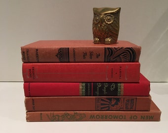 5 Vintage Decor Books. Wedding Decor. Vintage Book Set. Home Decor. Red Book Set.