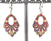 SUMMER SALE-Vintage Catherine Popesco Signed Multi-Colored Enamel Designer Earrings-Made In France