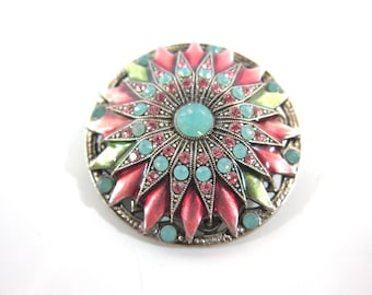 Vintage Catherine Popesco Pink And Green Enamel And Swarovski Crystal Sunflower Signed Broooch-Made In France