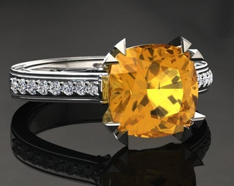 Yellow Sapphire Engagement Ring Cushion Cut Yellow Sapphire Ring 14k or 18k White Gold Matching Wedding Band Available W26YSW