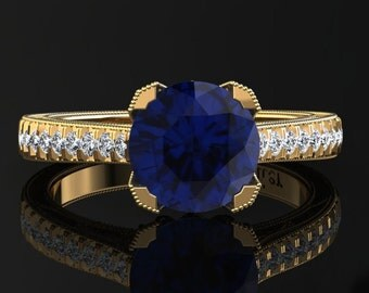 Blue Sapphire Engagement Ring Blue Sapphire Ring 14k or 18k Yellow Gold Matching Wedding Band Available SW5BUY