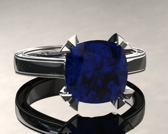 Blue Sapphire Engagement Ring Cushion Cut Blue Sapphire Ring 14k or 18k White Gold Matching Wedding Band Available W26SBUW