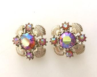 Vintage CORO Clip On Iridescent Stone Earrings