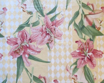 Orchids on Yellow Canvas Type Cotton