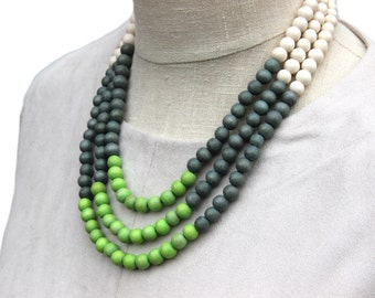 lime green beaded necklace / lime green and grey necklace / lime green bead necklace / lime green bridesmaid necklace / green necklaces