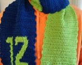 12th Man Seattle Seahawks crochet scarf, adult size, home made, blue and green