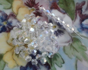 Vintage 4.5mm Czech Bicone AB Crystal ~ 4.5mm Size ~ 40 Pieces ~ AB Color Bicone Crystal ~ Vintage Czech Crystals ~ AB Bicone Crystals