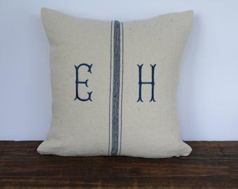 Grain Sack Fishtail Monogrammed Pillow Cover, Farmhouse Pillow Cover, French Pillow Cover, Decorative Pillow Cover - BLUE FISHTAIL
