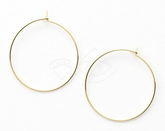 5505011 / Hoop Earwire (Large) / 16k Gold Plated Brass  28mm Inner Diameter / 0.4g / 10pcs