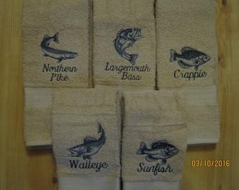 New Fish Hand Towels, Choose Walleye, Crappie, Sunfish, Largemouth Bass, Northern Pike
