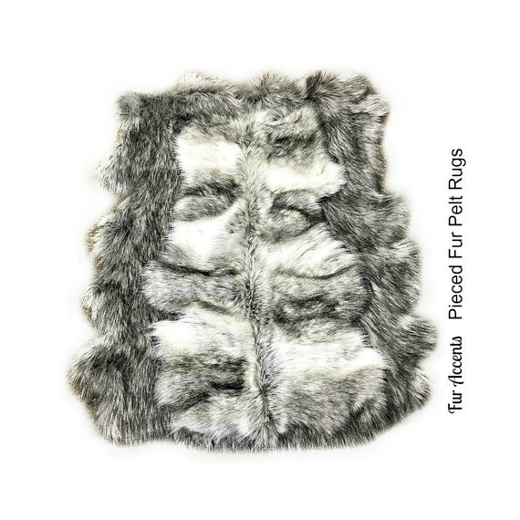gray wolf faux fur area rug pieced fur pelt rug by furaccents. Black Bedroom Furniture Sets. Home Design Ideas